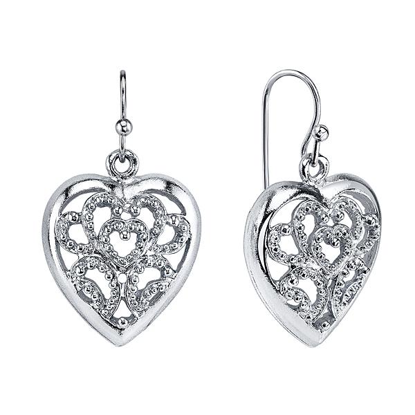 Silver-Tone Filigree Heart Drop Earrings