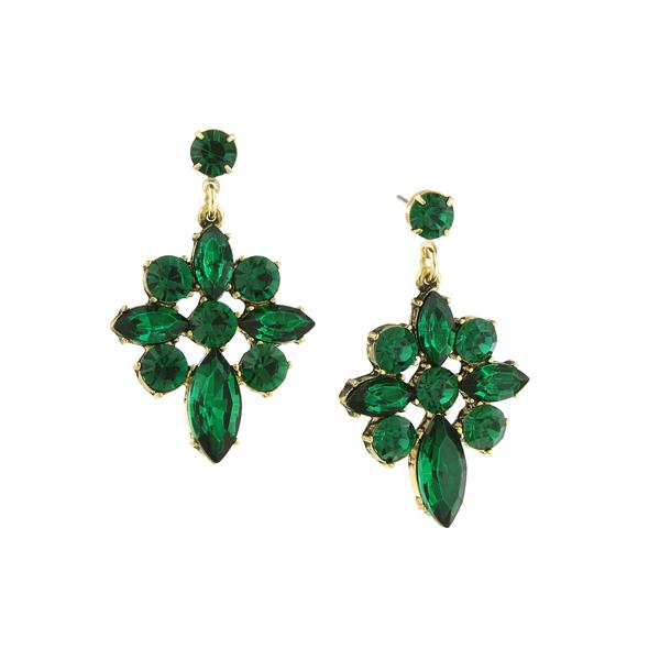 Gold-tone Emerald Green Statement Earrings