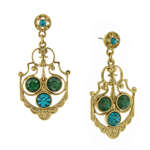 Signature Gold-Tone Emerald Green Fancy Drop Earrings $28.00 AT vintagedancer.com