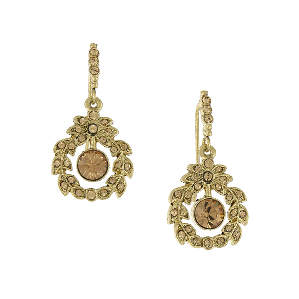 Signature Gold-Tone Light Topaz Crystal Drop Earrings