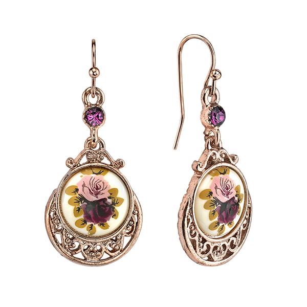 Manor House Rose Gold-Tone Filigree Floral Decal Drop Earrings