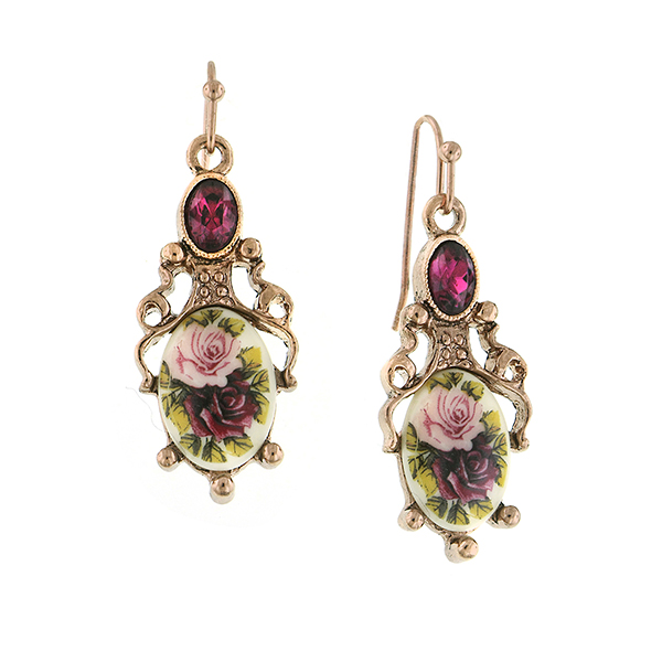 Manor House Rose Gold-Tone Floral Decal Drop Earrings $28.00 AT vintagedancer.com