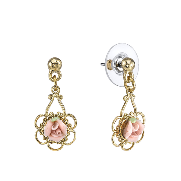 Gold-Tone Pink Porcelain Rose Drop Earrings $18.00 AT vintagedancer.com