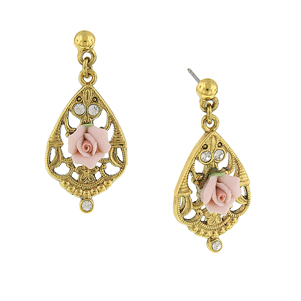 Gold-Tone Porcelain Rose Teardrop Earrings