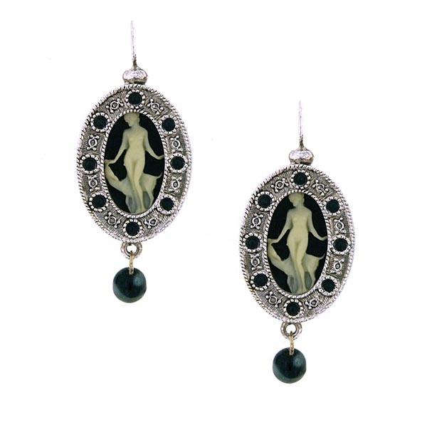 Antiquities Couture Silver-Tone Grecian Muse Victorian-Inspired Cameo Earrings $60.00 AT vintagedancer.com