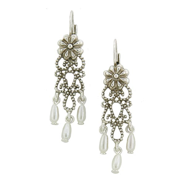 Antiquities Couture Silver-Tone Simulated Pearl Chandelier Earrings $28.00 AT vintagedancer.com