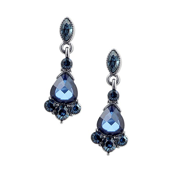 Victorian-Inspired Jet-Tone Blue Crystal Drop Earrings $20.00 AT vintagedancer.com
