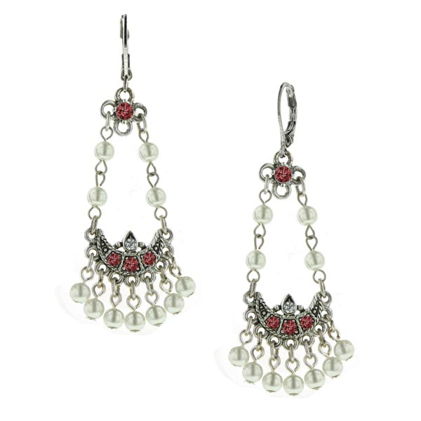 Siam Red Vintage Pearl Chandelier Earrings