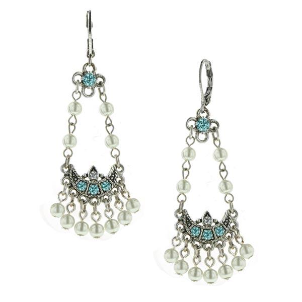Aqua Vintage Pearl Chandelier Earrings