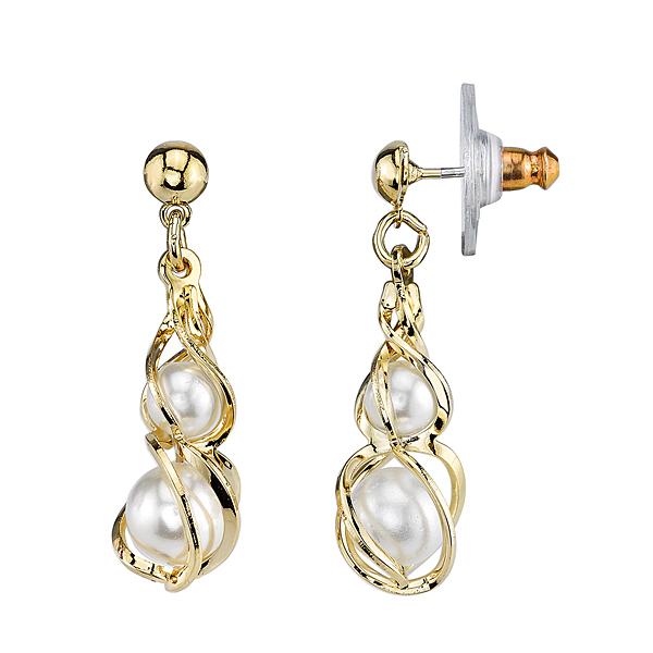 Gold Tone Simulated Pearl Drop Earrings