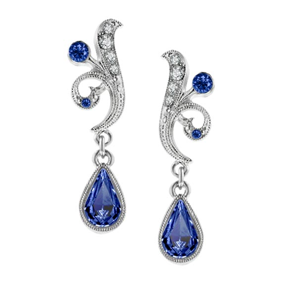 Bridal Sapphire Crystal Fancy Drop Earrings