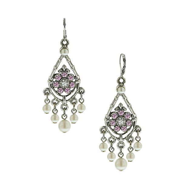 Silver-Tone Pink Crystal Faux Pearl Chandelier Earrings