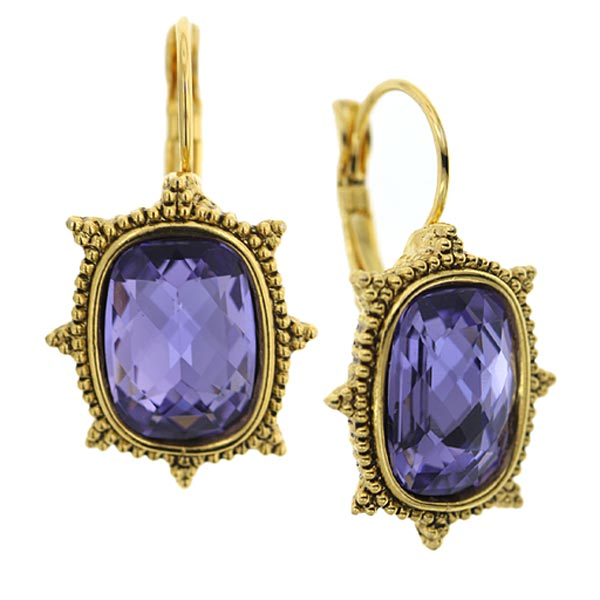 Antiquities Couture L'aura Pourpre Tanzanite Crystal Drop Earrings