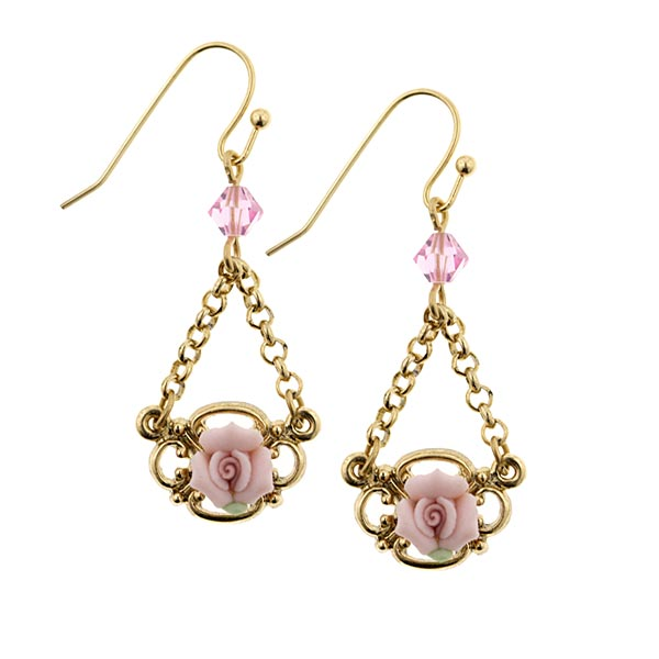 Porcelain Rose Petite Drop Earrings $24.00 AT vintagedancer.com
