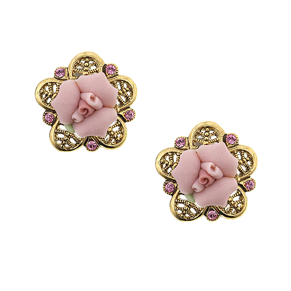 Porcelain Rose Gold-Tone  Pink Stud Earrings $26.00 AT vintagedancer.com