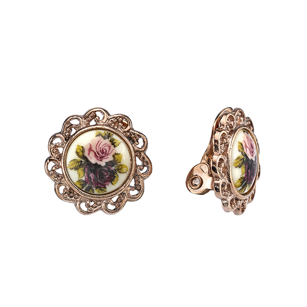 Manor House Rose Gold-Tone Floral Decal Clip On Earrings $26.00 AT vintagedancer.com