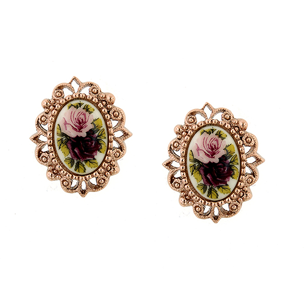 Manor House Rose Gold-Tone Floral Decal Oval Stud Earrings $24.00 AT vintagedancer.com