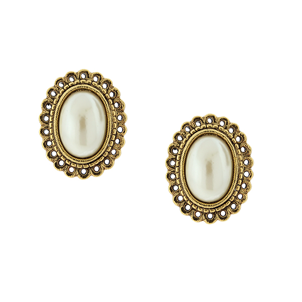 Her Majesties Pearl Statement Earrings $18.00 AT vintagedancer.com