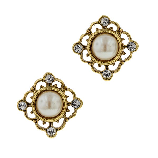 Inspirational Pearl Stud Earrings $18.00 AT vintagedancer.com