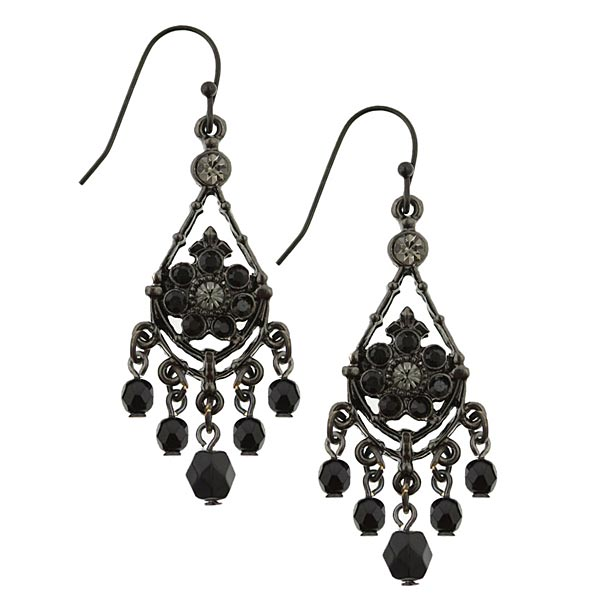 1940s Black Filigree Vintage Chandelier Earrings
