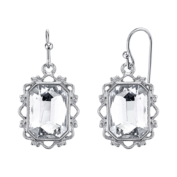 Crystal Glace Silver-Tone Crystal Rectangle Faceted Drop Earrings