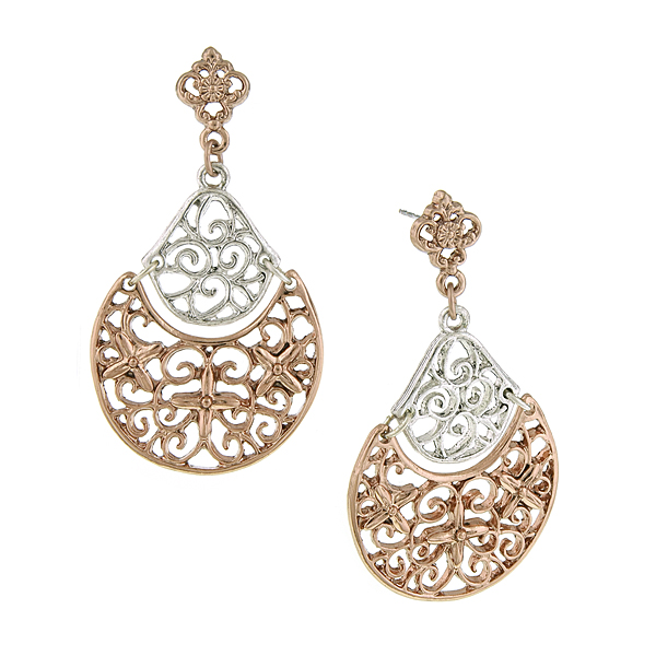 Silver and Rose Gold-Tone Filigree Drop Earrings