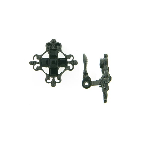 Antiquities Couture Victorian Black Clip On Cross Earrings $55.00 AT vintagedancer.com