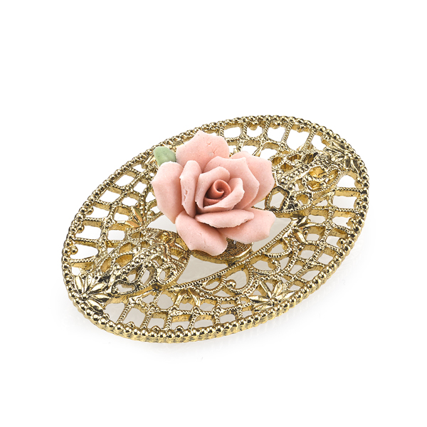 Porcelain Rose Gold-Tone  Pink Filigree Brooch $24.00 AT vintagedancer.com
