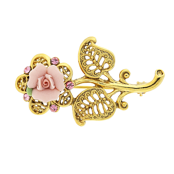 Porcelain Vintage Rose Pin $26.00 AT vintagedancer.com