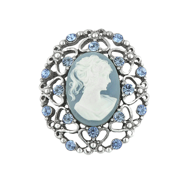 Light Sapphire Blue Cameo Brooch $24.00 AT vintagedancer.com