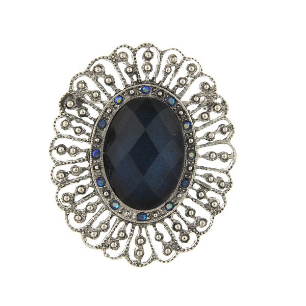 Silver-Tone Sapphire Blue Oval Filigree Brooch $32.00 AT vintagedancer.com