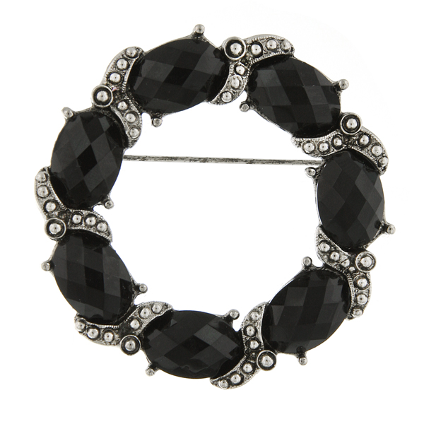 Silver-Tone Black Wreath Brooch $24.00 AT vintagedancer.com