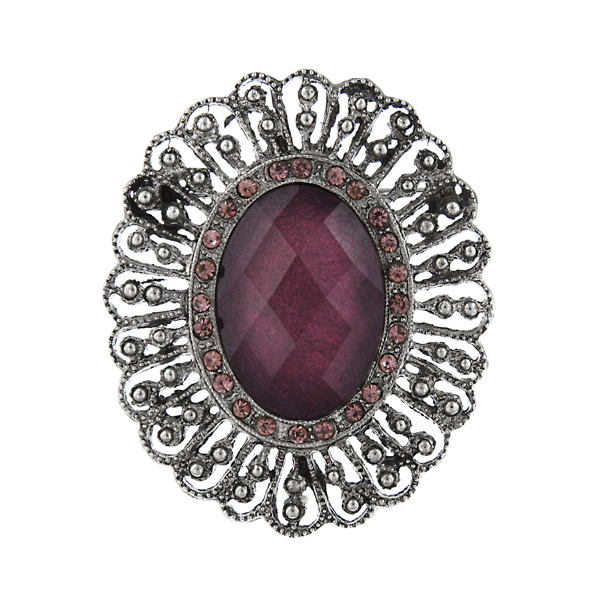 2028 Antique Oval Amethyst Brooch $32.00 AT vintagedancer.com
