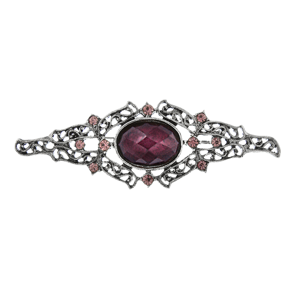 2028 Victorian Filigree Amethyst Brooch $24.00 AT vintagedancer.com