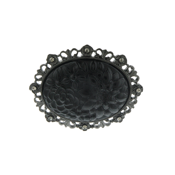 Signature Jet-Tone Black Carved Flower Brooch $32.00 AT vintagedancer.com