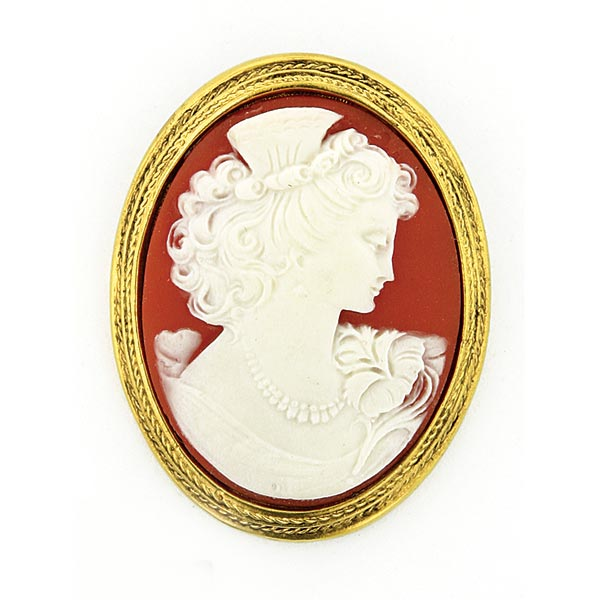 Antiquities Couture Gold-Tone Faux Ivory and Red Cameo Brooch