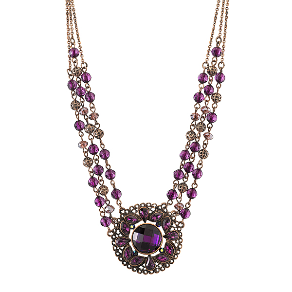 2028 Radiant Violet Copper-Tone Purple Pendant Beaded Necklace $48.00 AT vintagedancer.com