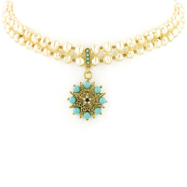 Antiquities Couture Gold-Tone Imitation Turquoise Pendant Faux Pearl Choker $145.00 AT vintagedancer.com