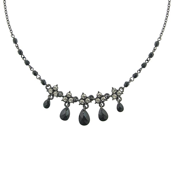 Victoria Crystal Cluster Black Necklace $35.00 AT vintagedancer.com