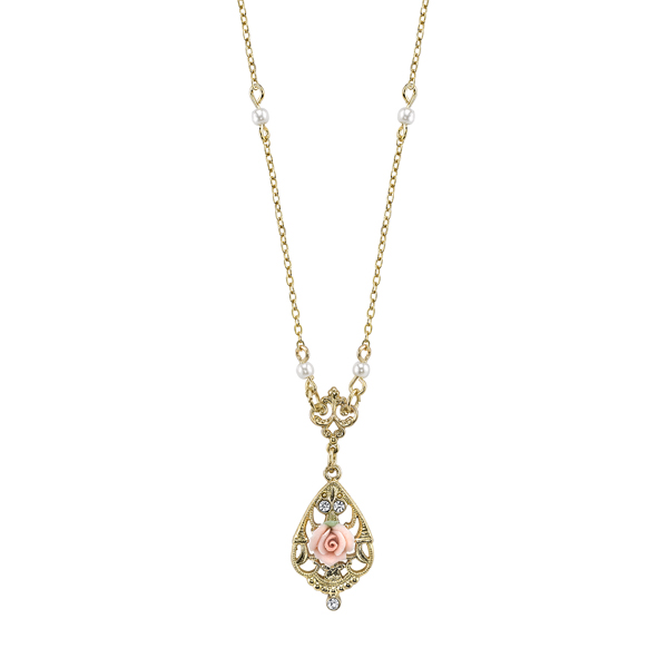 Vintage Collection Gold-Tone Porcelain Rose Teardrop Necklace $22.00 AT vintagedancer.com