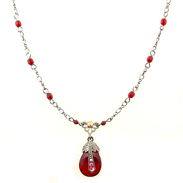 Black Aurora Borealis Crystal Accented Red Pendant Necklace $28.00 AT vintagedancer.com