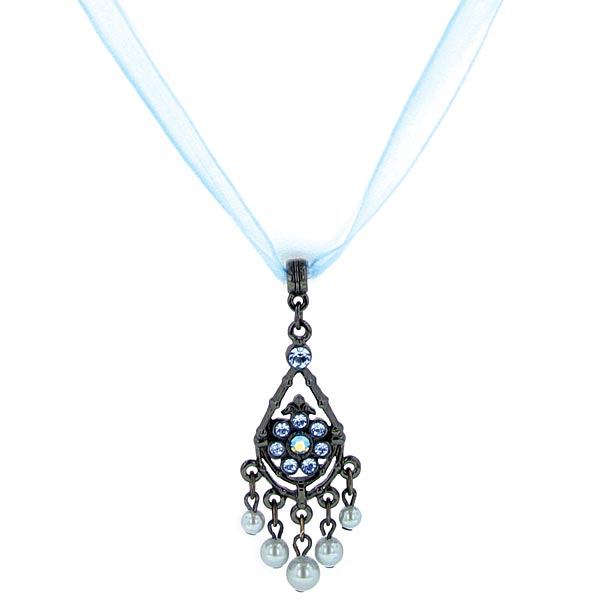 Organza Ribbon Black Blue Crystal and Faux Pearl Pendant Necklace