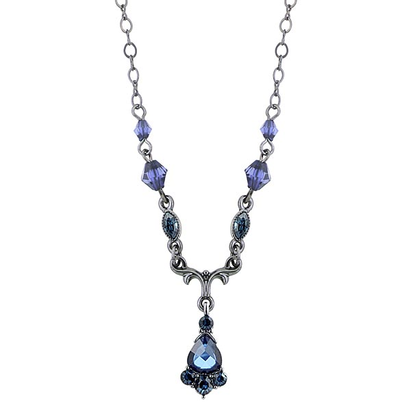 Victorian-Inspired Jet-tone Blue Crystal Pendant Necklace $20.00 AT vintagedancer.com