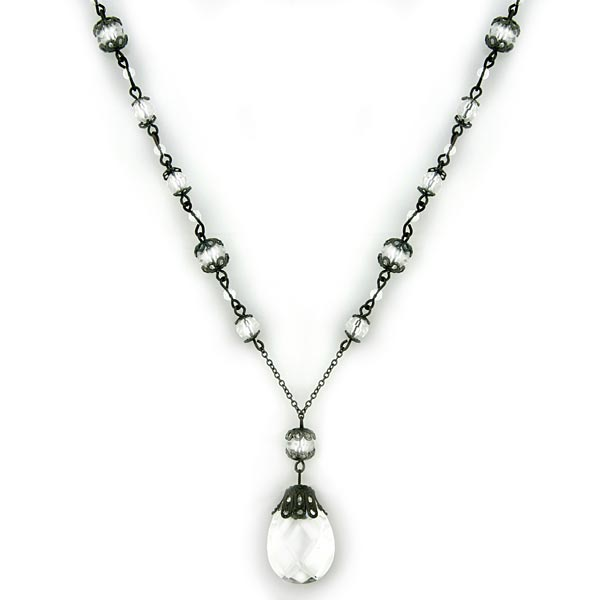Jet-Tone Crystal Briolette Drop Pendant Necklace
