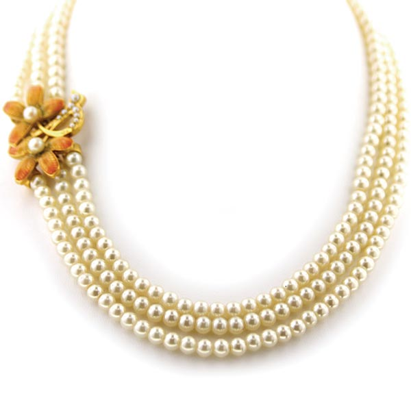 Antiquities Couture Fantasia Fiori Three Row Faux Pearl and Flower Necklace $110.00 AT vintagedancer.com