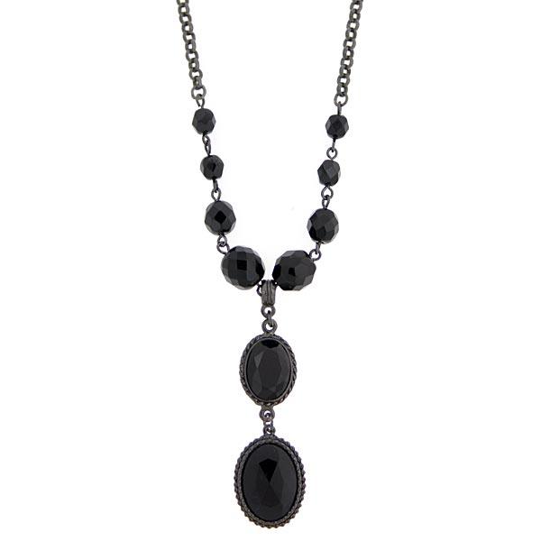 Black Metal Black Beaded Y Necklace
