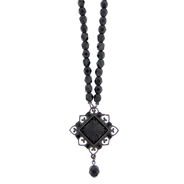 Black Metal Black Square Pendant Beaded Necklace
