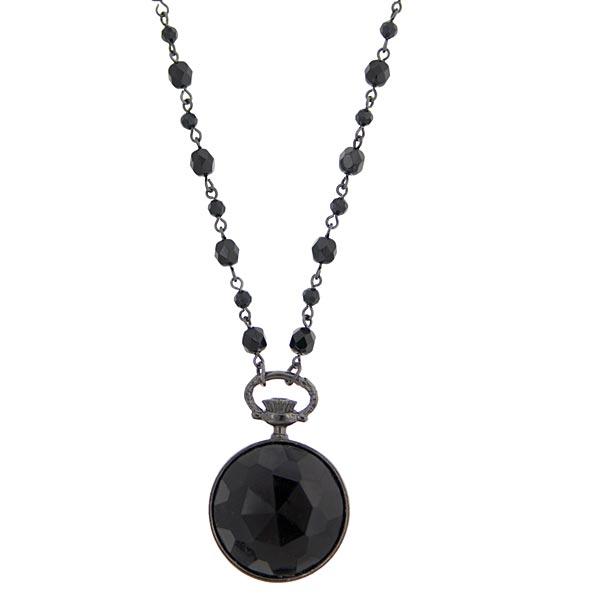 2028 Black Metal Black Round Pendant Beaded Necklace