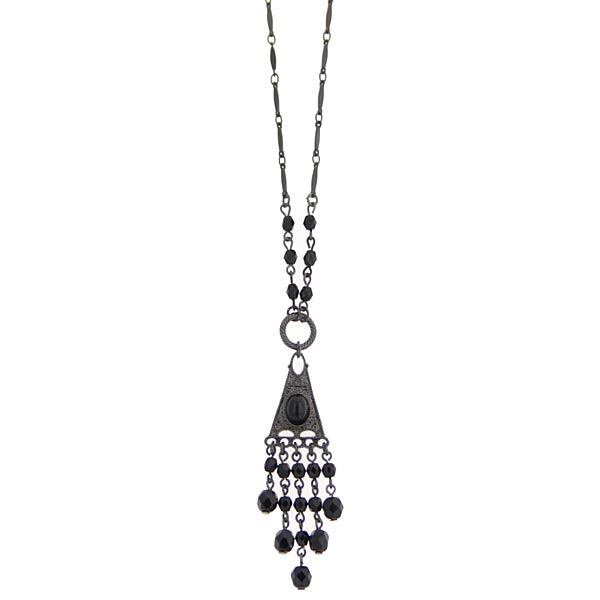 2028 Black Beaded Pendant Necklace