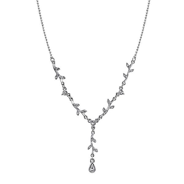 Floral Garland Silver Crystal Y Necklace